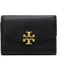 Tory Burch Kira Mixed-materials Medium Flap Wallet - Black