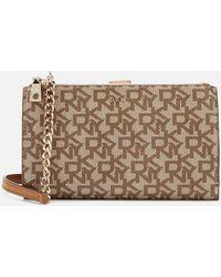 DKNY Bryant Double Zip Cross Body Bag Wallet - Brown