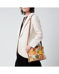 Tory Burch Perry Straw Embroidered Tote Bag - Brown