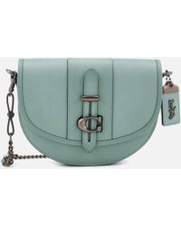 fcd8e8bc60 Lyst - COACH Mickey Kisslock Bag In Glovetanned Leather in Blue