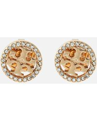 Tory Burch - Crystal Logo Circle Stud Earrings - Lyst