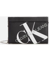 Calvin Klein Logo Chain Cardcase Cross Body Bag - Black