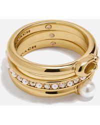COACH Classic Pearl Ring Set - Metallic