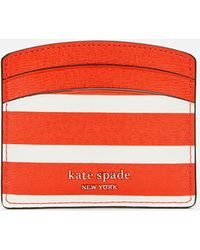 Kate Spade Spencer Stripe Card Holder - Red