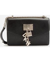 DKNY Womens Black/gold Elissa Small Leather Shoulder Bag