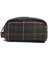 Barbour Tartan Wool Wash Bag - Green