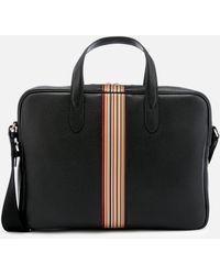 Paul Smith Signature Stripe Slim Leather Business Folio - Black