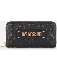 Love Moschino Quilted Large Zip Around Wallet - Black