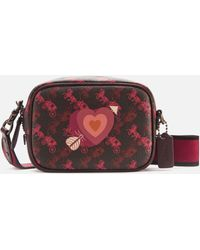 COACH Coated Canvas Heart Print Camera Bag - Red