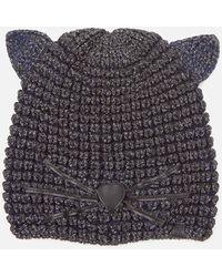 Karl Lagerfeld Choupette Lurex Beanie Hat - Black