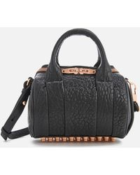 Alexander Wang - Mini Rockie Pebbled Leather Bag With Rose Gold Studs - Lyst
