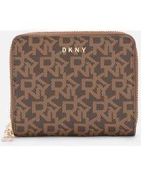 DKNY Bryant Small Logo Zip Around Wallet - Natural