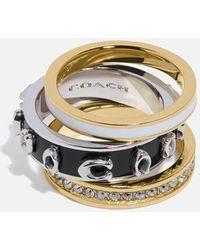COACH Pegged Enamel C Ring Set - Metallic