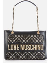 Love Moschino Quilt Stud Tote Bag - Black