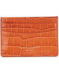 Aspinal of London Slim Credit Card Case Deep Shine Small Croc - Orange
