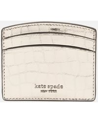 Kate Spade Sylvia Croc Card Holder - Metallic