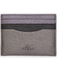 COACH Metallic Colorblock Flat Card Case - Purple