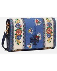 Tory Burch Mcgraw Floral Wallet Cross Body Bag - Blue