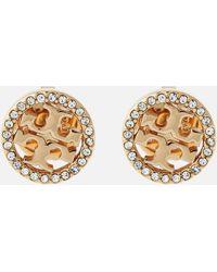 Tory Burch Crystal Logo Circle Stud Earrings - Metallic