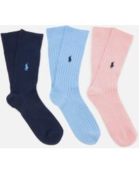 Polo Ralph Lauren - Egyptian Cotton Rib Crew 3 Pack Socks - Lyst