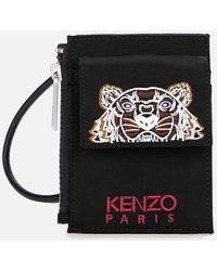 KENZO Kampus Canvas Strap Card Holder - Black
