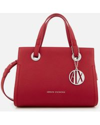 Armani Exchange - Patent Logo Small Tote Bag - Lyst