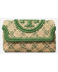 Tory Burch Fleming Soft Straw Clutch - Green