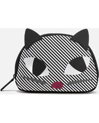 Lulu Guinness - Stripe Kooky Cat Crescent Pouch - Lyst