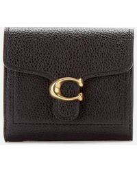 COACH Polished Pebble Tabby Small Wallet - Black