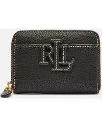 Lauren by Ralph Lauren Stacked Leather Zip Wallet - Black