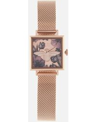 Olivia Burton Exclusive Square Dial 3d Floral Mesh Watch - Pink