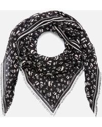 Karl Lagerfeld K/ikonik Aop Scarf - Black