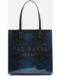 Ted Baker Jemacon Holographic Imitation Snake Large Icon Bag - Blue