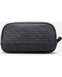 Armani Exchange All Over Print Wash Bag - Black