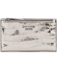 Kate Spade Sylvia Croc Small Wallet - Grey