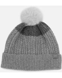 Joules Fine Cable Bobble Hat With Faux Fur Pom - Grey