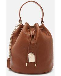 Furla Sleek Small Drawstring Bucket Bag - Brown