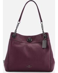 COACH - Polished Pebble Leather Turnlock Edie Shoulder Bag - Lyst