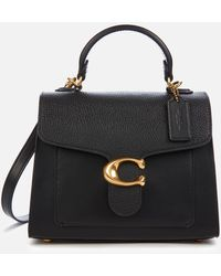 COACH Mixed Leather Tabby Top Handle 20 Bag - Black