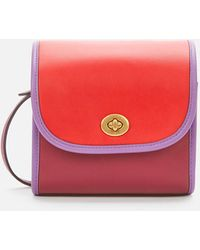 COACH Runway Coach Originals Colorblock Binding Turnlock Lunchbox Pouch - Red