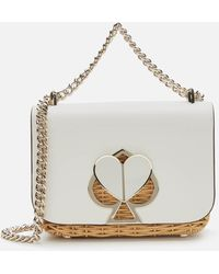 Kate Spade Nicola Wicker Twistlock Shoulder Bag - White