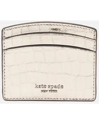 Kate Spade Sylvia Croc Card Holder - Metallic