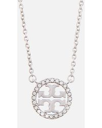 Tory Burch Crystal Logo Delicate Necklace - Metallic