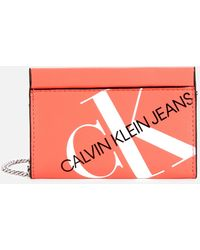 Calvin Klein Logo Chain Cardcase Cross Body Bag - Orange