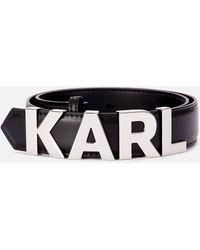 Karl Lagerfeld K/karl Metal Letters Belt - Black