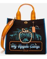 COACH Skyline Big Apple Camp Canvas Tote Bag 34 - Black