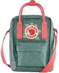 Fjallraven Kanken Sling Cross Body Bag Frost Green / Peach Pink Embroidery