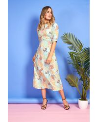 mykindofdress Mia Multi Coloured Spot Print Dress - Blue
