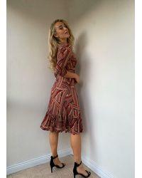 Jolie Moi Grace Twist Front Midi Ruffle Dress , Taupe Stripe - Brown