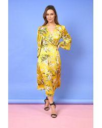 Liquorish Selena Floral Maxi Wrap Dress - Yellow